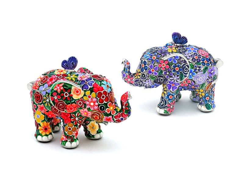 BOX JEWELLERY ELEPHANT WITH FLOWER