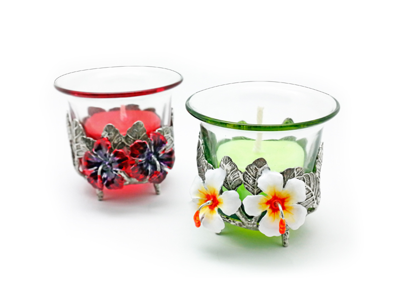 CANDLE HOLDER HIBISCUS (TEALIGHT)