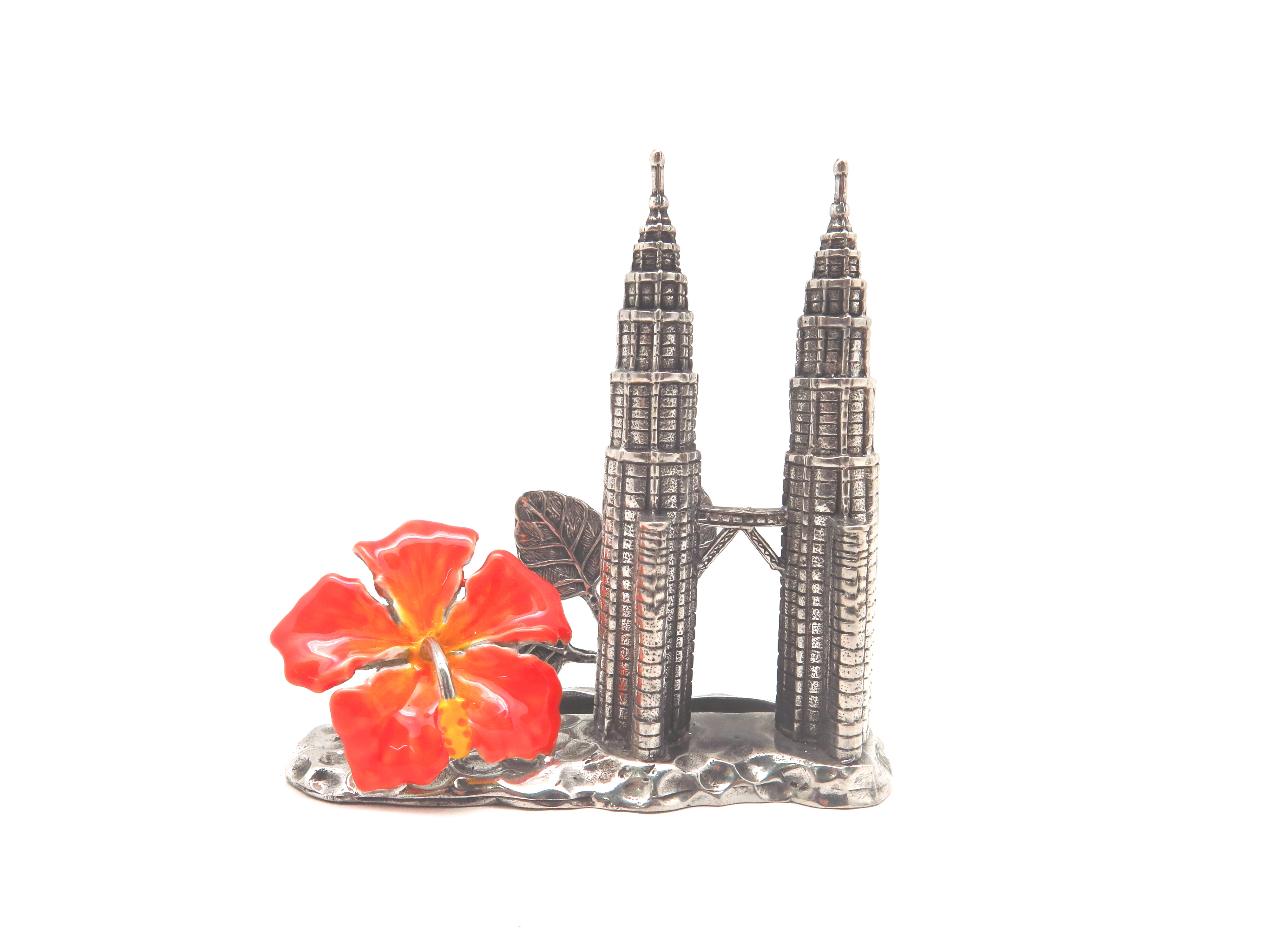 CARD HOLDER TWIN TOWER W/HIBISCUS