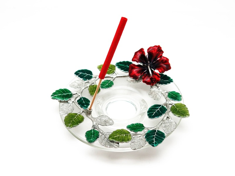INCENSE HOLDER HIBISCUS ON GLASS