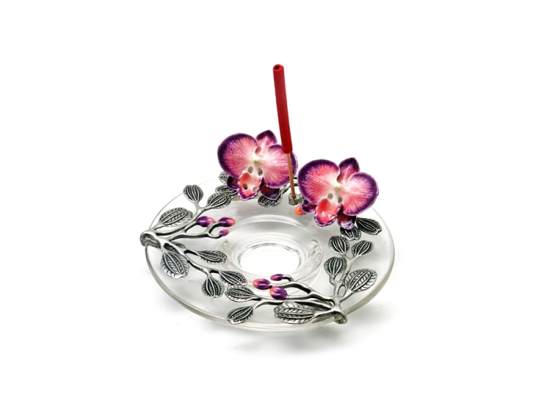 INCENSE HOLDER TWIN ORCHID ON GLASS