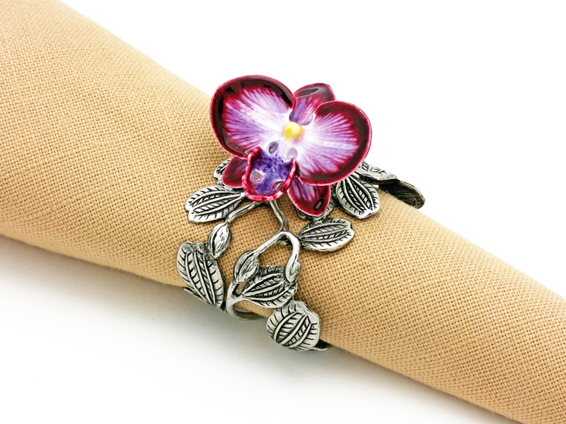NAPKIN RING ORCHID FLOWER (SET OF 4) <p><I>20%off</p></I>