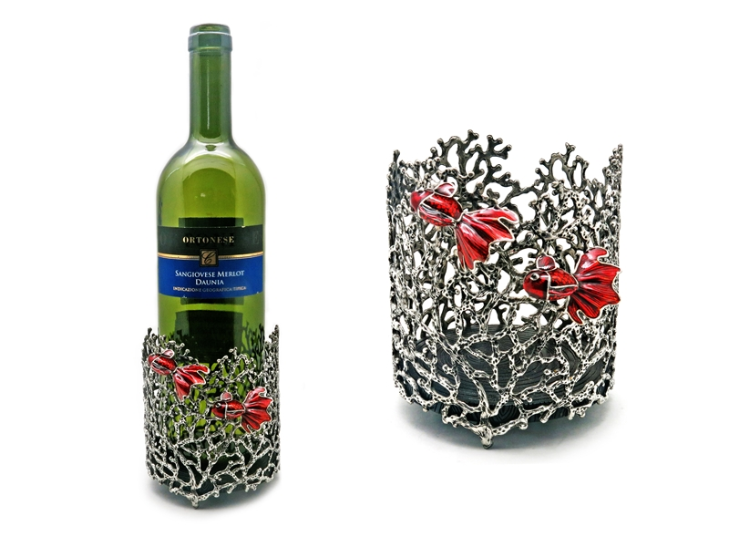 WINE HOLDER CORAL W/GOLDFISH