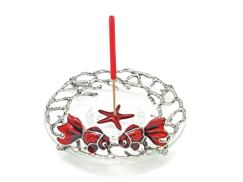 INCENSE HOLDER CORAL GOLDFISH ON GLASS