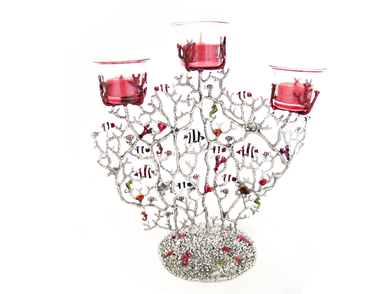 CANDLE HOLDER CORAL & FISH 3 SPOT