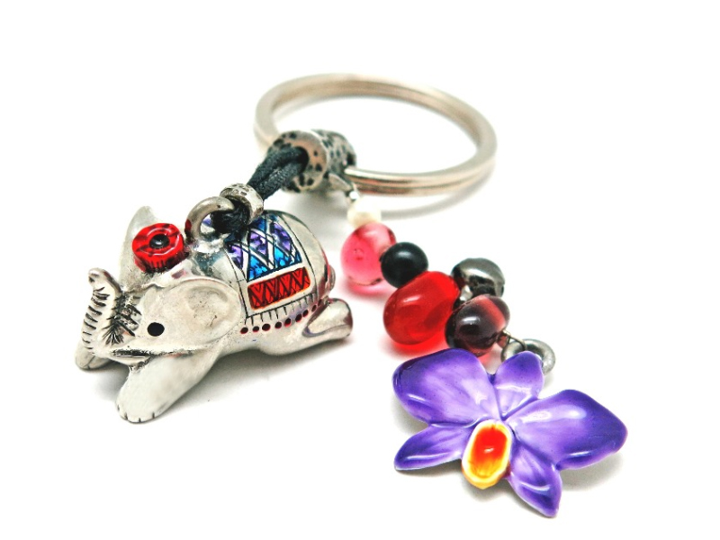KEY RING ELEPHANT & ORCHID