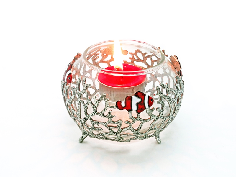 CANDLE HOLDER CORAL W/NEMO ROUND GLASS